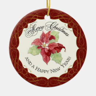 Our First Christmas Together Poinsettia Custom Ceramic Ornament