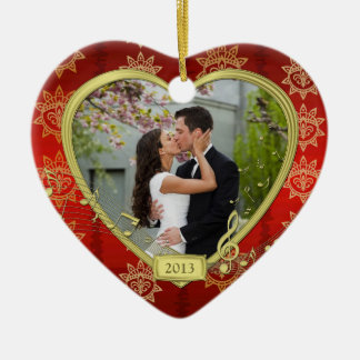 Our First Christmas Together Red Gold Photo Xmas Ceramic Ornament