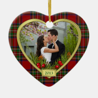 Our First Christmas Together Tartan Photo Xmas Ornament