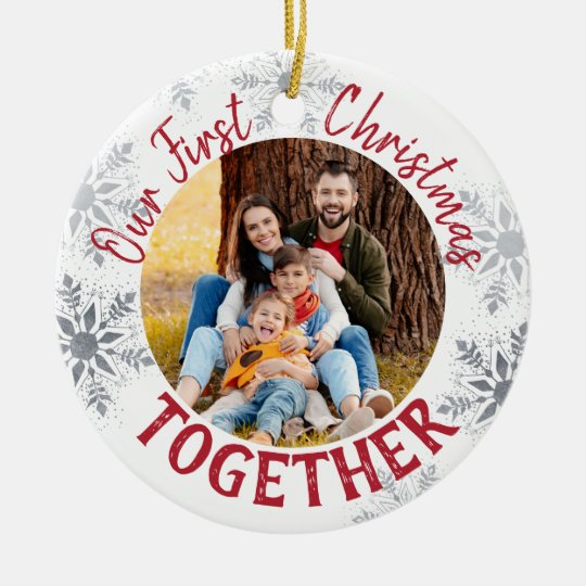 Our First Christmas Together w. Custom Photo - Red Ceramic ...