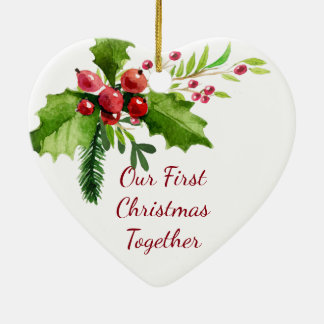 Our First Christmas Together Watercolor Holly Ceramic Ornament