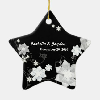 Our First Christmas Together Wedding Couple Gift Double-Sided Star Ceramic Christmas Ornament
