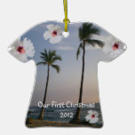 Our First Christmas Tropical Hawaii Palm Tree Christmas Ornaments
