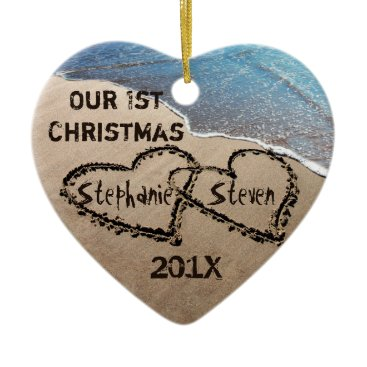 Beach Themed Our First Christmas Two Hearts In Sand Ornament
