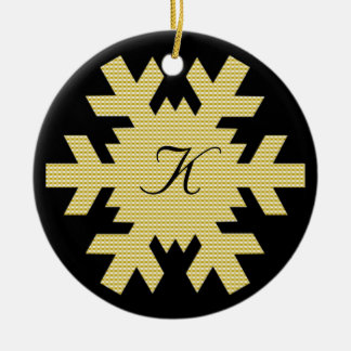 """""""Our First Christmas"""" - w/ Names and Monogram [b] Ceramic Ornament"""