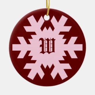 """Our First Christmas"" - w/ Names & Monogram [b] Ceramic Ornament"