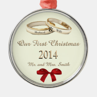 Our First Christmas w/rings and bow Ornament Silver-Colored Round Ornament