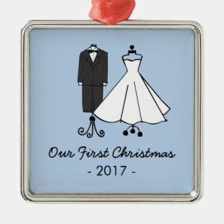 Our First Christmas * Wedding Doodles Metal Ornament