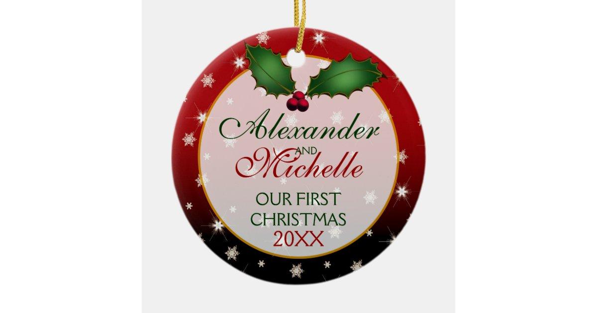 Our First Christmas Wedding Ornament | Zazzle.com