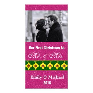 Our First Christmas Wedding Photo Cards, Fuchsia Card