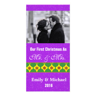 Our First Christmas Wedding Photo Cards, Purple Card