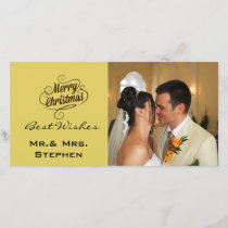 Our First Christmas Wedding Photo Cards, Yellow Holiday Card