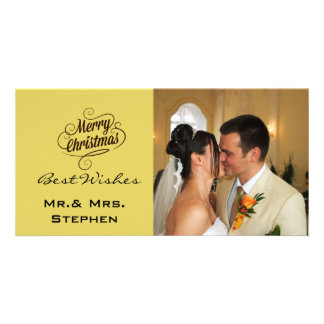 Our First Christmas Wedding Photo Cards, Yellow