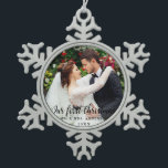 """Our First Christmas Wedding Photo Snowflake Pewter Christmas Ornament<br><div class=""""desc"""">Our First Christmas Wedding Photo Snowflake Ornament</div>"""