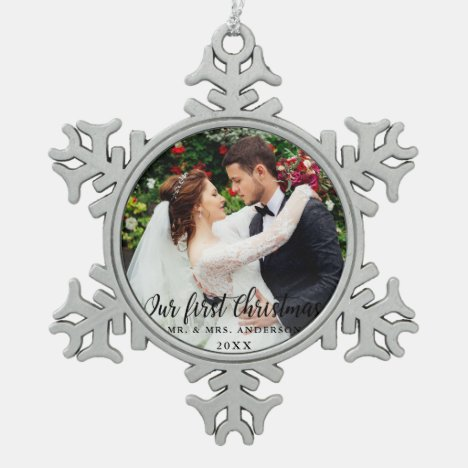 Our First Christmas Wedding Photo Snowflake Pewter Christmas Ornament