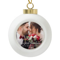 Our First Christmas Wedding Photo White Script Ceramic Ball Christmas Ornament