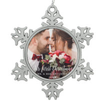 Our First Christmas Wedding Photo White Script Snowflake Pewter Christmas Ornament