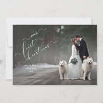 Our First Christmas White Overlay Script Photo Holiday Card