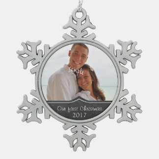 Our First Christmas with  Photo Snowflake Pewter Christmas Ornament