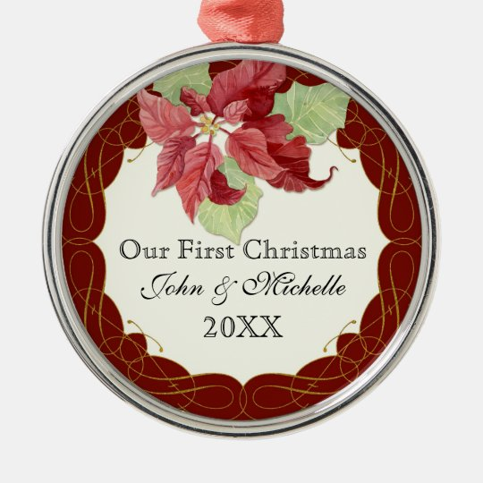 Our First ChristmasTogether Poinsettia Personalize Metal Ornament