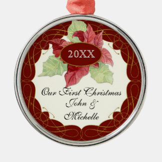 Our First ChristmasTogether Poinsettia Personalize Round Metal Christmas Ornament