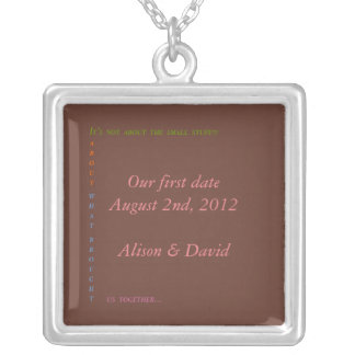 Our first date square pendant necklace