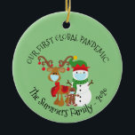 """Our first Global Pandemic Custom Snowman 2020 Ceramic Ornament<br><div class=""""desc"""">This design was created though digital art. It may be personalized in the area provided or customizing by changing the photo or added your own words. Contact me at colorflowcreations@gmail.com if you with to have this design on another product or want a custom design. Purchase my original abstract acrylic painting...</div>"""