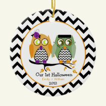 Our First Halloween Owls Personalized Ornament