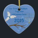 "Our First Hanukkah Together Ornament Gift<br><div class=""desc"">Feathers and Menorah make this ornament a very special gift for a Holiday you treasure</div>"