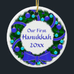 "Our First Hanukkah Year Wreath Ornament<br><div class=""desc"">A simple and lovely with blue and green decorations,  suitable for your ""Hanukkah Bush""! Templates front and back,  with ""Our First Hanukkah (year) on the front and  the year on the back.</div>"