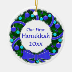 Our First Hanukkah Year Wreath Ornament at Zazzle