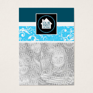 our first home (blue damask) business card