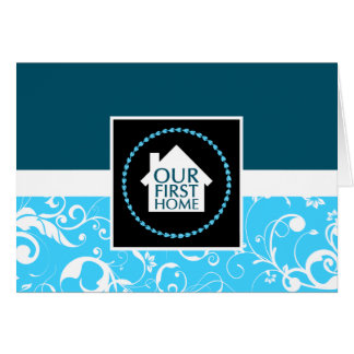 our first home (blue damask) stationery note card