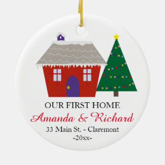 Our first home Christmas ornament - Red house