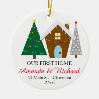 Our first home Christmas ornament - snowy house