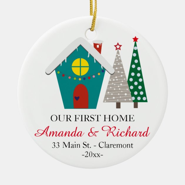 Our first home Christmas ornament - snowy house | Zazzle.com