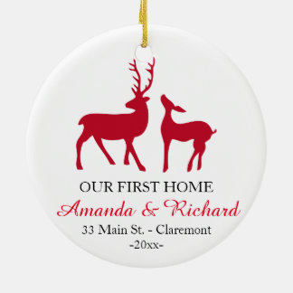 Our first home Christmas tree ornament, love deer Ceramic Ornament