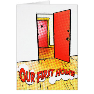 our first home comic door stationery note card