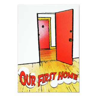 our first home comic door 3.5x5 paper invitation card