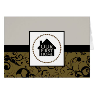 our first home (damask) stationery note card