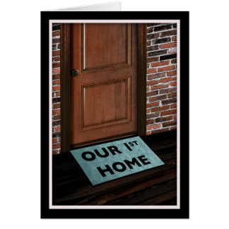 our first home door mat stationery note card