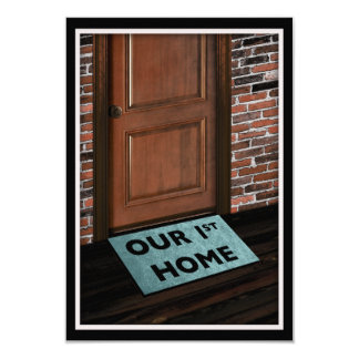 our first home door mat 3.5x5 paper invitation card