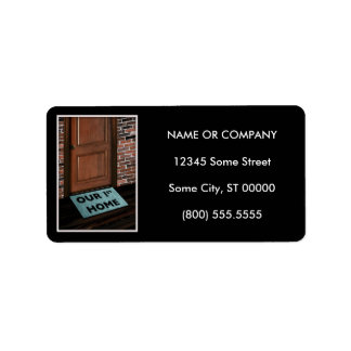 our first home door mat personalized address labels