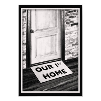 our first home door mat photograph 3.5x5 paper invitation card