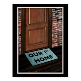 our first home door mat postcard