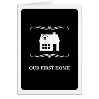 our first home (mod black and white) stationery note card