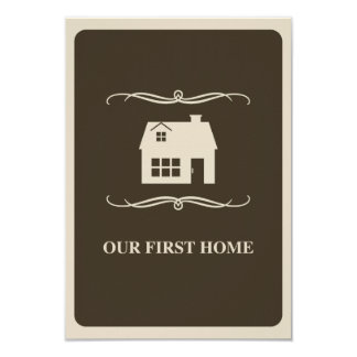 our first home (mod home) 3.5x5 paper invitation card