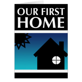 our first home (mod sunset) stationery note card