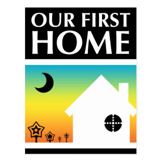 our first home (rainbow sunset) postcard