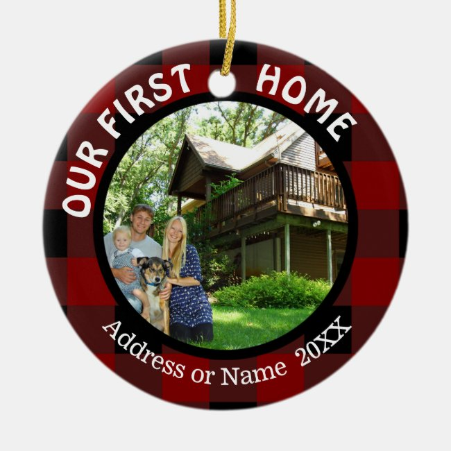 Our First Home (your photo) Two Photo 2-Sided Ceramic Ornament